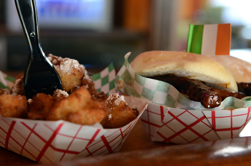 . Pork Belly Sliders, $8, and Deep Fried Bread Pudding, $6, at O�Gara�s at the Fair, corner of Dan Patch and Cosgrove. (Pioneer Press: C.J. Sinner)