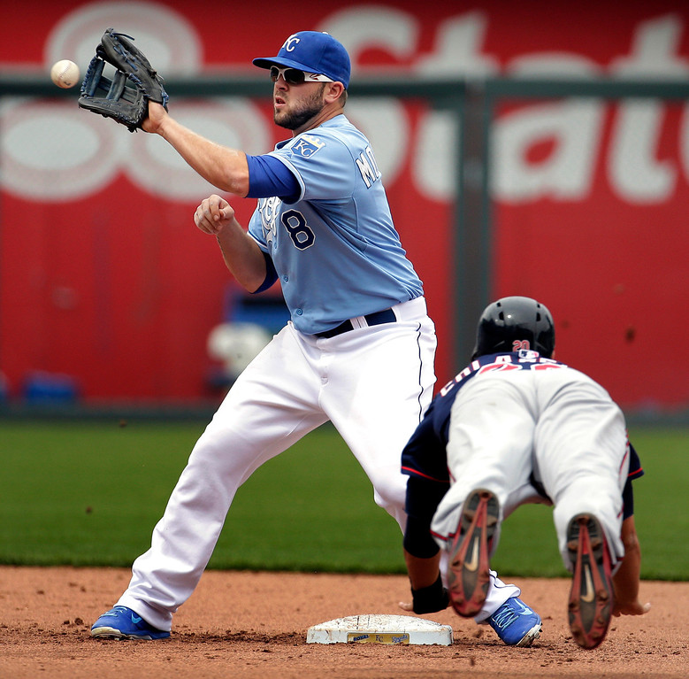 . Minnesota Twins\' Chris Colabello, right, is caught stealing second by Kansas City Royals third baseman Mike Moustakas during the fifth inning. (AP Photo/Charlie Riedel)