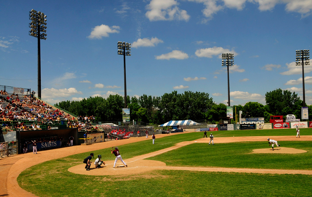 . The Forest Lake Rangers bat against the Mounds View Mustangs on a picture perfect day during their state Class 3A baseball tournament game at Midway Stadium in St. Paul.  (Pioneer Press: Scott Takushi)