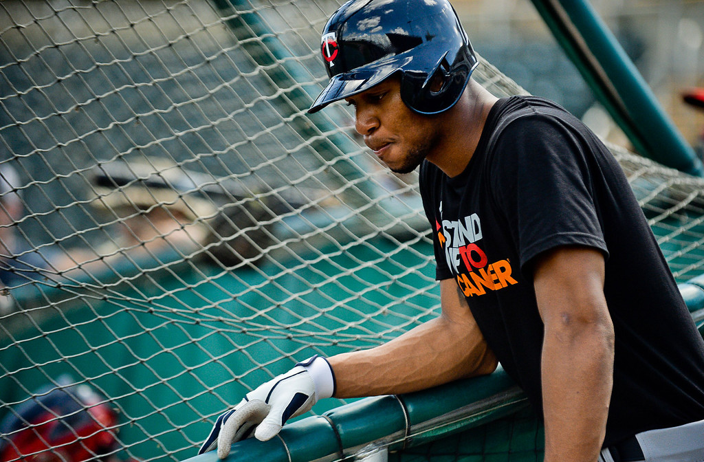. Buxton held his fire on the first day of live batting practice. (Pioneer Press: Ben Garvin)