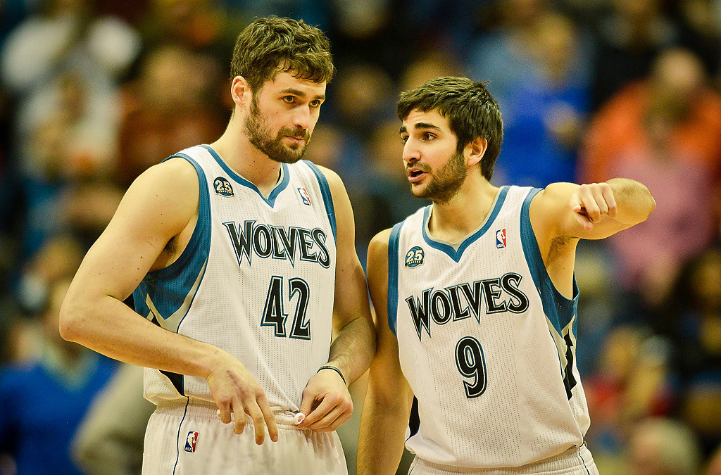 . Minnesota Timberwolves power forward Kevin Love, left, and point guard Ricky Rubio chat before tip off. (Pioneer Press: Ben Garvin)