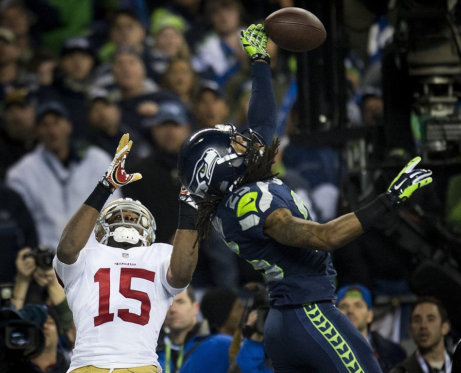 """. <p>1. RICHARD SHERMAN <p>If you�re smart enough to graduate from Stanford, you�re smart enough to figure out how to make yourself an instant household name. Well played!  (unranked) <p><b><a href=\'http://tracking.si.com/2014/01/20/richard-sherman-michael-crabtree-charity-fight/\' target=\""""_blank\""""> HUH?</a></b> <p>   <p>OTHERS RECEIVING VOTES <p> Chris Christie, Norv Turner, Juan Pablo Galavin, all-you-can-eat cheesecake, Aqib Talib, Jeff Dubay, tattoos, The Professor, Andrew Cuomo, Aaron Hernandez, Adrian Peterson�s groin, �Saturday Night Live�, National Security Agency, Lil Za, Arian Foster, Shia La Beouf, kellen Winslow Jr., Nadya Suleman, Bill Belichick, Kate Gosselin. <p> <br><p> You can follow Kevin Cusick at <a href=\'http://twitter.com/theloopnow\'>twitter.com/theloopnow</a>.    (AP Photo/The Sacramento Bee, Hector Amezcua)"""