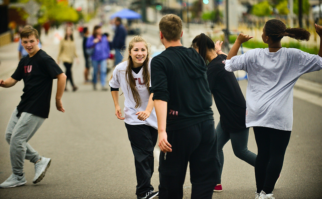 . members of TU Dance in St. Paul dance in the middle of University Avenue during Open Streets. From left is Keenan Schember, who is 15, Anna Pinault, 17, Micah Burkhardt, 17, Camille Horstmann, 16 and Maia Fernandez-Ray, 15.  (Pioneer Press: Ben Garvin)