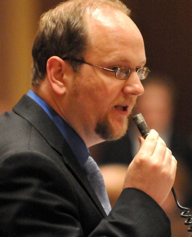 . Rep. David FitzSimmons, R-Albertville, speaking during the House floor debate, broke with his party to vote in favor of allowing same-sex couples to wed.  (Pioneer Press: John Doman)