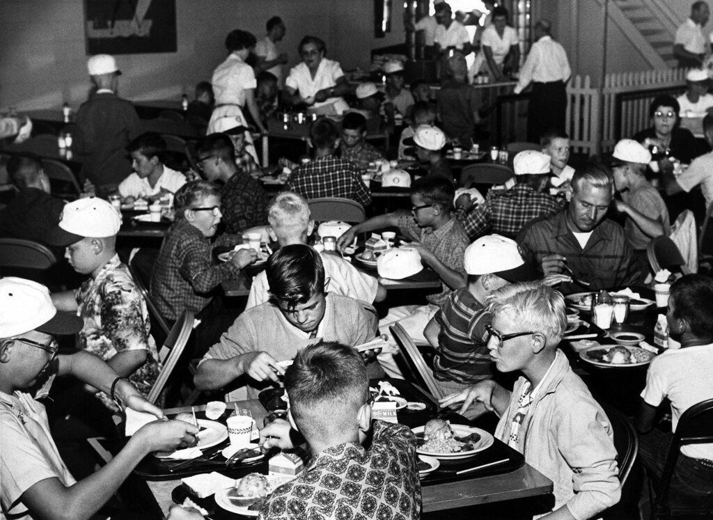 . St. Paul Dispatch/Pioneer Press couriers eat at Robinson\'s Cafeteria on the grounds of the Minnesota State Fair on Aug. 29, 1961. Photo courtesy of the Minnesota State Fair.