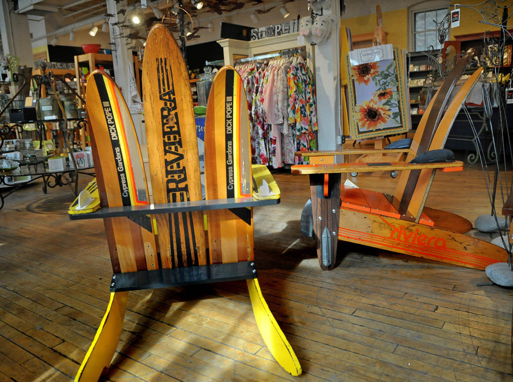 . Chairs and a table made from vintage skis are among the items at Alfresco, which offers  an eclectic mix of kitchen, apothecary and jewelry items. (Pioneer Press: Jean Pieri)