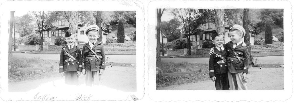 """. Writes BEVERLY of St. Paul: �The two smaller pictures are of my nephews Rollie and Richard. These were taken during WWII: 1944. Most of us girls lived at home with our mother, and oh! How we spoiled them! They were 5 to 6 years old, and both of their fathers were in the service. I can�t believe they are in their 70s. Very patriotic, wouldn�t you say?\"""""""