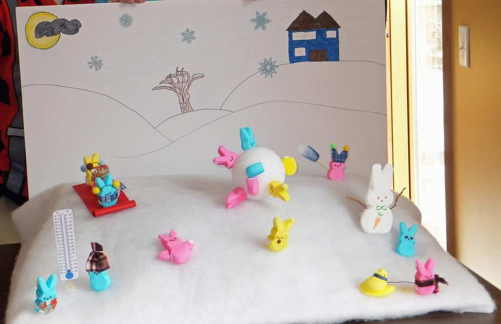 ". ""Freezing Our Peeps Off!\"" by Allison and Ian Reimers and Andrea, Lucas and Carson Gross"