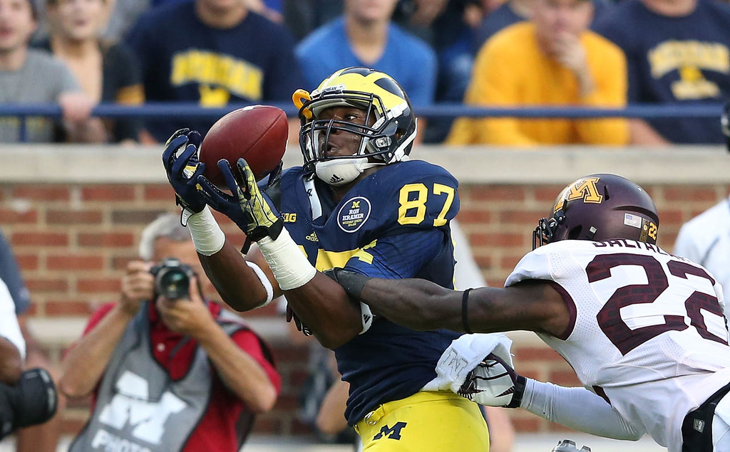 . Michigan receiver Devin Funchess makes the catch for a 46-yard gain over Minnesota cornerback Jeremy Baltazar.(Photo by Leon Halip/Getty Images)