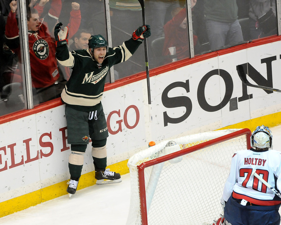. Minnesota Wild Jason Zucker celebrates his goal during the second period. (Pioneer Press: Sherri LaRose-Chiglo)