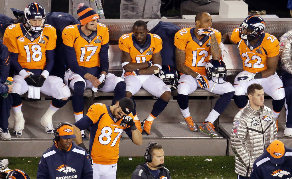. <p><b>1. DENVER BRONCOS</b> <p>Congratulations! You�ve now lost 20 percent more Super Bowls than the Vikings! <p>   <p>OTHERS RECEIVING VOTES <p> Tim Tebow, Philip Seymour Hoffman, John Fox, Arnold Schwarzenegger, Montee Ball, Marshawn Lynch, The 12th Man, Russell Wilson, Red Hot Chili Peppers, Renee Fleming, Queen Latifah, Tom Brady, Colin Kaepernick, Joe Buck, Erin Andrews, Troy Aikman, Terry Bradshaw, Michael Bloomberg, New York, Bill DeBlasio, Mike Zimmer, Christian Ponder & Matt Cassel, polar vortex, Miley Cyrus, Beyonce & Jay-Z, the �Full House� guys, Stephen Colbert, Danica Patrick, Terry McAulay. <p> <br><p> During the NFL season, Kevin Cusick plays the role of Fantasy Football Guru for hosts Bob Sansevere and Mike Morris on Sports Radio 105 The Ticket. You can follow him at <a href=\'http://twitter.com/theloopnow\'>twitter.com/theloopnow</a>.      (AP Photo/Mel Evans)