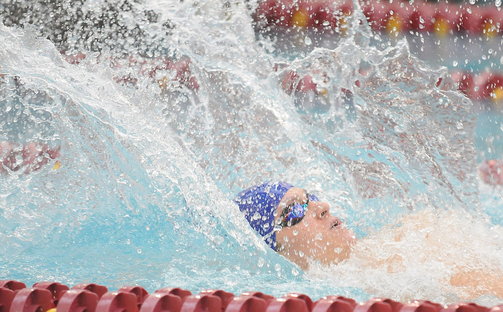 . St. Thomas Academy\'s Sam Johanns during the 200 yard Medley Relay. St. Thomas Academy\'s relay team won with the time of 1:36.03. (Pioneer Press: Sherri LaRose-Chiglo)