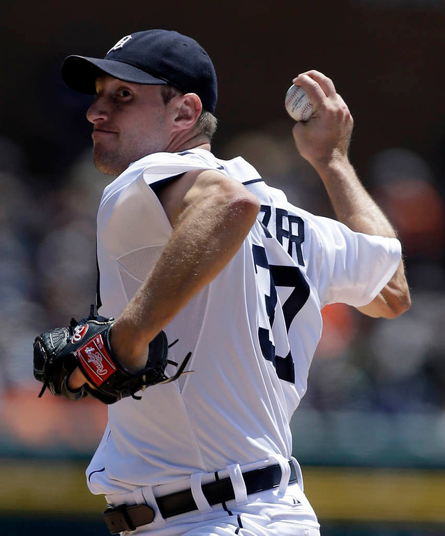 . Detroit Tigers starting pitcher Max Scherzer throws during the first inning. (AP Photo/Carlos Osorio)