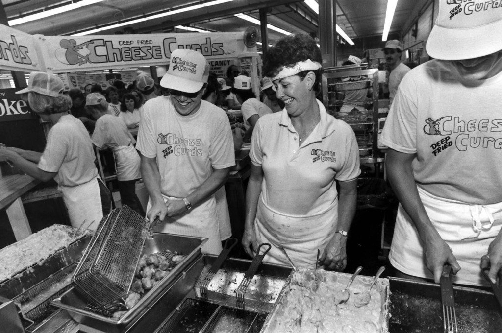 . Inside the deep fried cheese curd concession in the Food building at the 1987 Minnesota State Fair. Photo courtesy of the Minnesota State Fair.