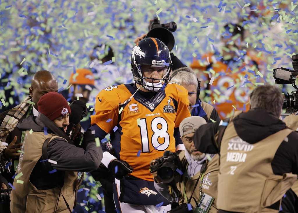 """. <p><b> A defiant Manning, in the postgame press conference, insisted he would never use this word to describe the Broncos� 43-8 loss � </b> <p> A. Embarrassing <p> B. Humiliating <p> C. Omaha <p><b><a href=\'http://www.nfl.com/news/story/0ap2000000323278/article/broncos-peyton-manning-its-not-embarrassing-at-all\' target=\""""_blank\"""">HUH?</a></b> <p>   (AP Photo/Chris O\'Meara)"""