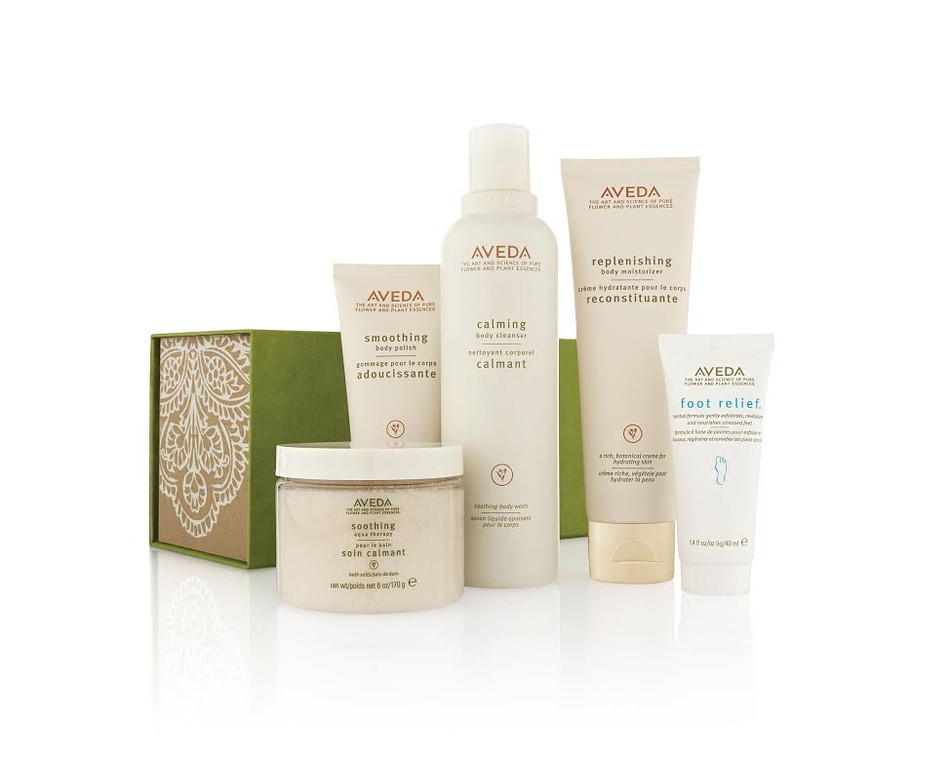 . Aveda Give Spa Nights package (body polish, moisturizing, aqua therapy bath salts, cleanser and travel-size foot relief) ($69). Widely available at Aveda salons, stores and aveda.com.