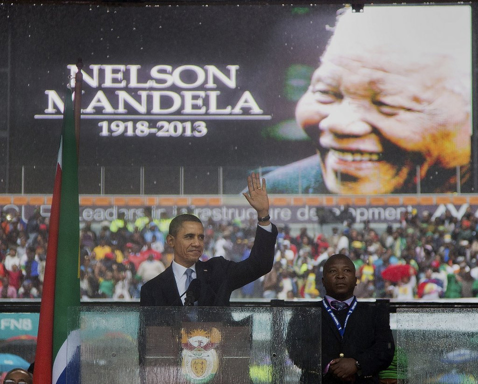 ". <p><b> President Obama, during a speech Tuesday, hailed this world leader as �the last great liberator of the 20th century� who �earned his place in history through struggle and shrewdness, persistence and faith� � </b> <p> A. Nelson Mandela <p> B. Steve Biko <p> C. Barack Obama <p><b><a href=\'http://www.twincities.com/breakingnews/ci_24691507/obama-south-africa-mandela-memorial-service\' target=""_blank\"">HUH?</a></b> <p>    (AP Photo/Evan Vucci)"