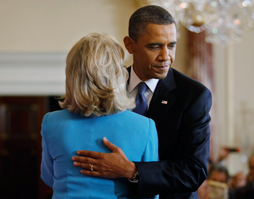 """. 3. (tie) HILLARY CLINTON & BARACK OBAMA <p>Ready to �hug it out,� after which she will spend next two years getting as FAR away from him as possible. (unranked) </p><p><b><a href=\""""http://dailycaller.com/2014/08/13/this-is-so-awkward-msnbc-panel-mocks-hillarys-hug-it-out-moment-with-obama-video/\"""" target=\""""_blank\""""> LINK </a></b> </p><p>   (Chip Somodevilla/Getty Images)</p>"""