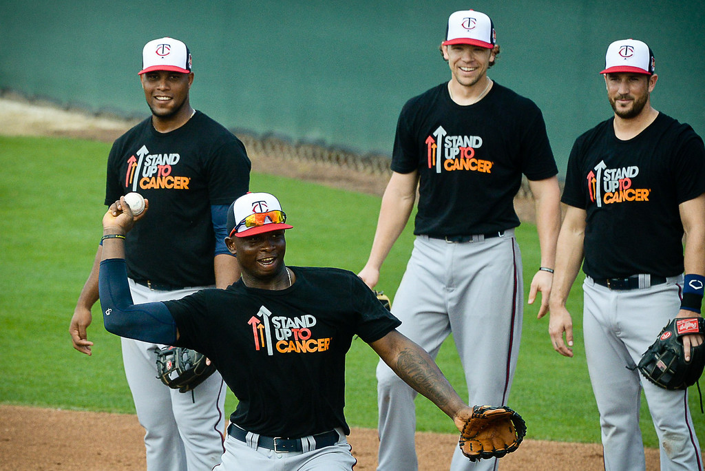 """. Non-roster infield invitee Miguel Sano throws to first during Kelly\'s \""""Good Morning America\"""" drill. (Pioneer Press: Ben Garvin)"""