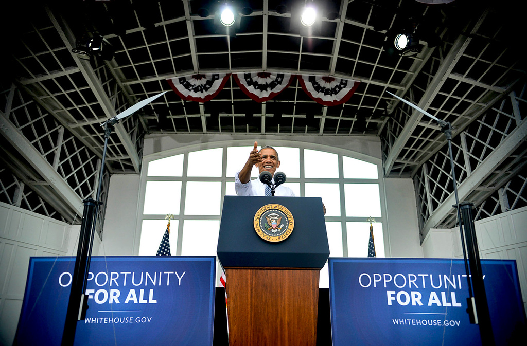 . President Barack Obama is framed by the Lake Harriet Bandshell during his Friday morning speech. (Pioneer Press: Ben Garvin)
