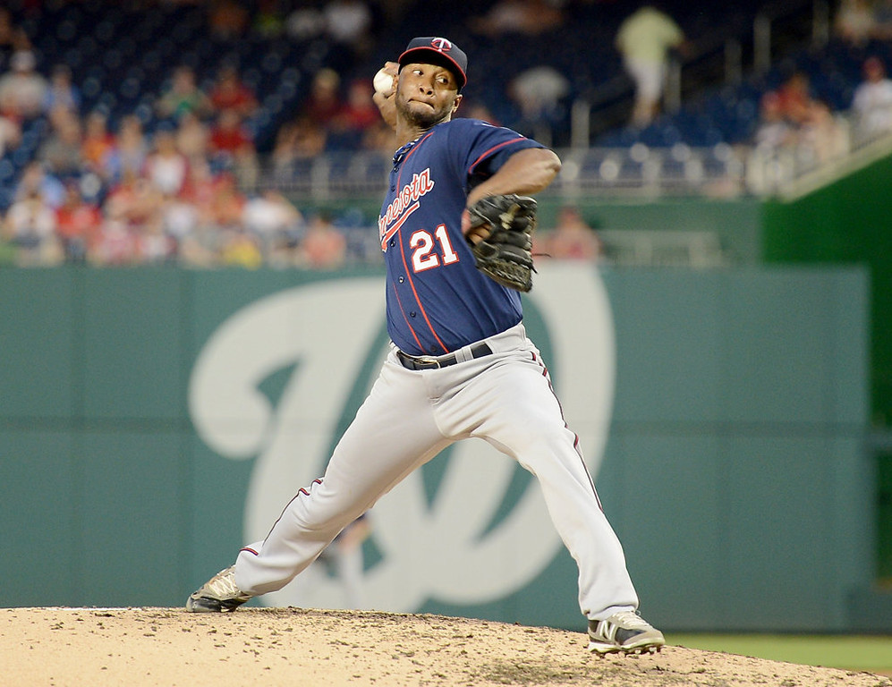 . Minnesota Twins starting pitcher Samuel Deduno (21) works against the Washington Nationals in the third inning of the second game of a day-night doubleheader at Nationals Park. (Chuck Myers/MCT)