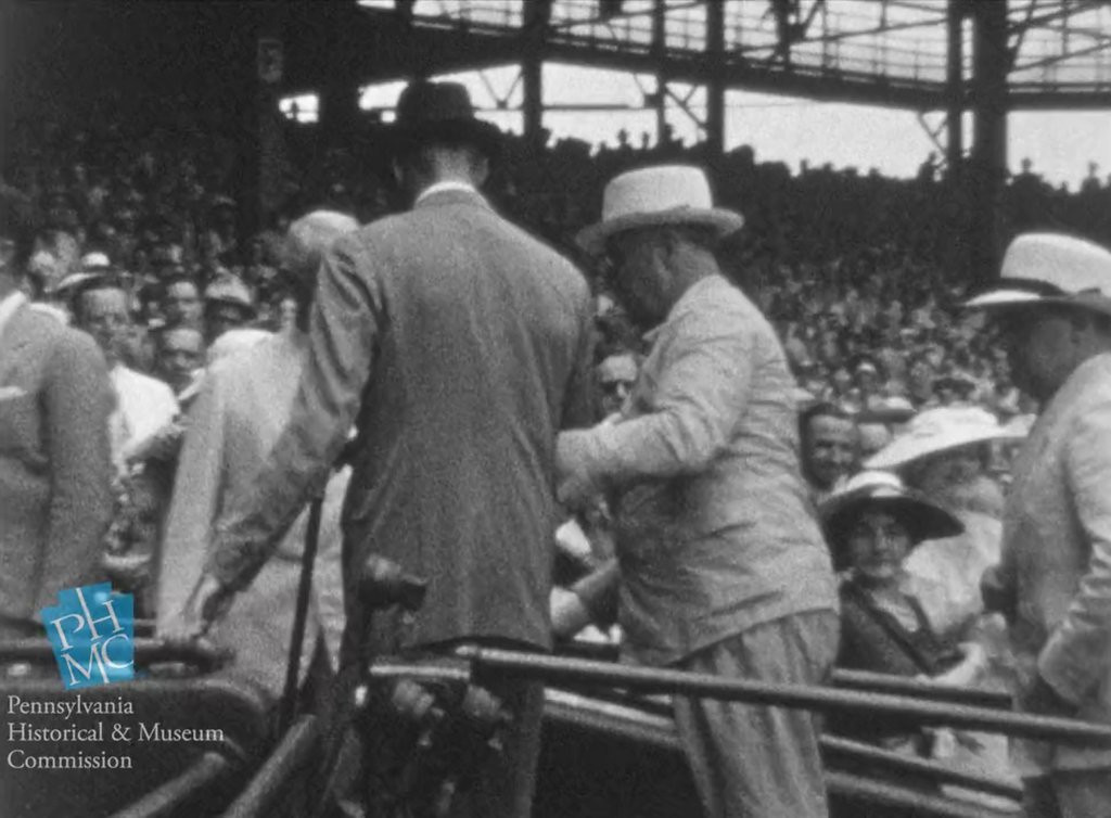 ". <p><b> Former President Franklin Roosevelt was back in the headlines last week after historians uncovered extremely rare footage of our 32nd president � </b> <p> A. Walking with braces <p> B. Driving an automobile <p> C. Unveiling his 1939 NCAA tournament brackets <p><b><a href=\'http://www.cnn.com/2014/05/16/us/franklin-delano-roosevelt-walking-video/\' target=""_blank\""> LINK </a></b> <p>     (AP Photo/Pennsylvania Historical & Museum Commission)"