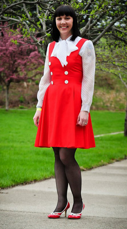 . �I found this on etsy.com. It came all the way from Canada,� Katie Nelson of St. Paul said of her dress. �I like the 1950s style, the bright color and buttons.� (Pioneer Press: Ben Garvin)