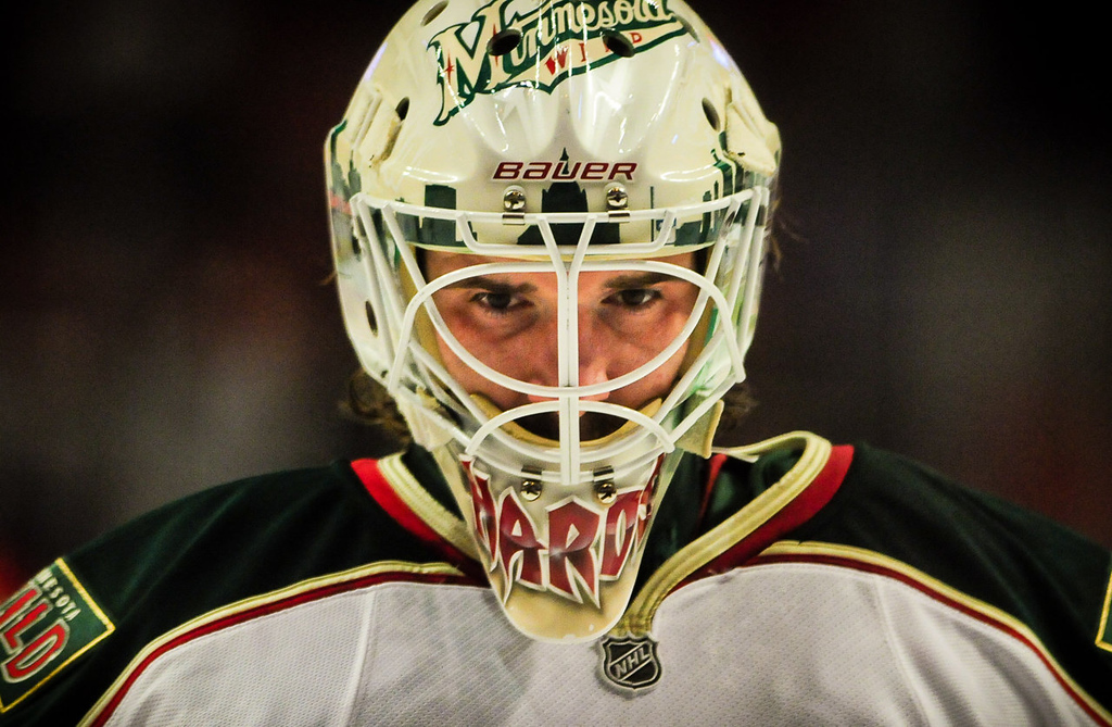 . Minnesota Wild goalie Josh Harding takes the ice before Game 2. (Pioneer Press: Ben Garvin)