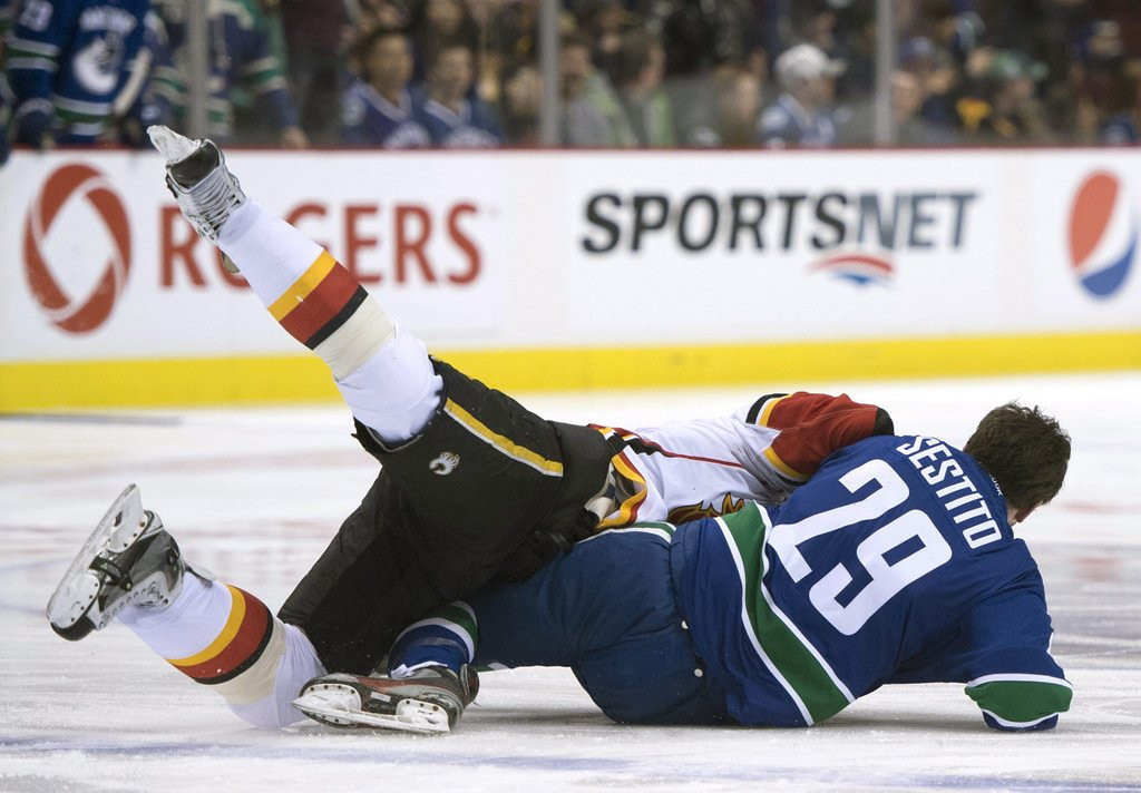 """. <p>9. VANCOUVER CANUCKS & CALGARY FLAMES <p>NHL�s latest homage to �Slap Shot� could have used a couple Hanson brothers. (unranked) <p><b><a href=\'http://www.cbc.ca/sports/hockey/nhl/mlb-analyst-calls-nhl-minor-sport-after-canucks-flames-brawl-1.2502970\' target=\""""_blank\""""> HUH?</a></b> <p>   (AP Photo/The Canadian Press, Jonathan Hayward)"""