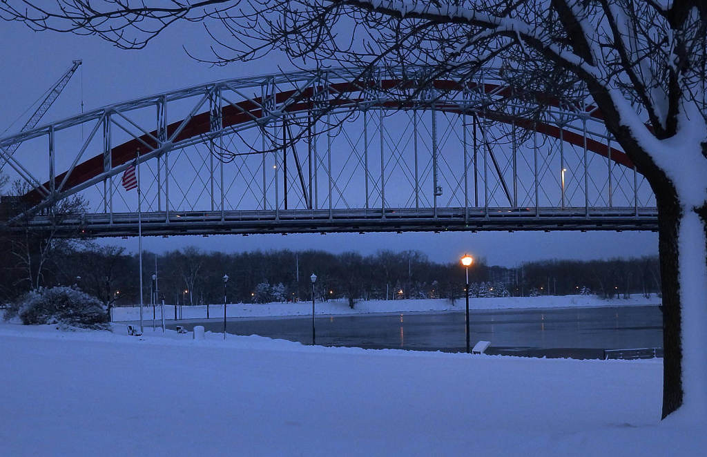 . A lone streetlamp lights up near the bridges on Dec. 11, 2012. Photo courtesy of Dave Youngren/Hastings Bridge Watch.