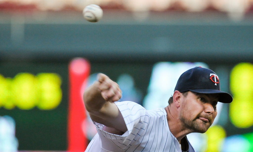 . Minnesota Twins starting pitcher Mike Pelfrey throws in the second inning as the Minnesota Twins play the Cleveland Indians at Target Field in Minneapolis, Minn., on Friday, July 19, 2013. (Pioneer Press: Ben Garvin)