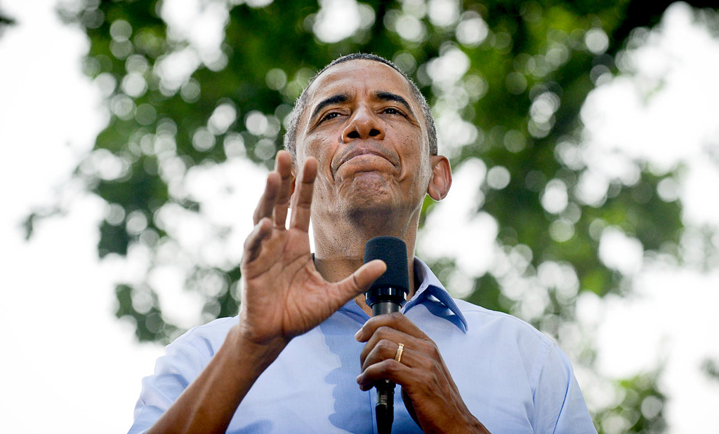 . President Barack Obama speaks during a town hall meeting at Minnehaha Park in Minneapolis on Thursday, June 26, 2014. In addition to the meeting, Obama will give an economic policy speech on Friday. (Pioneer Press: Ben Garvin)