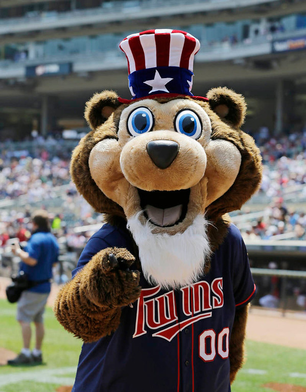 . Minnesota Twins mascot TC Bear gets into the spirt of the July Fourth holiday with an Uncle Sam look prior to the game. (AP Photo/Jim Mone)