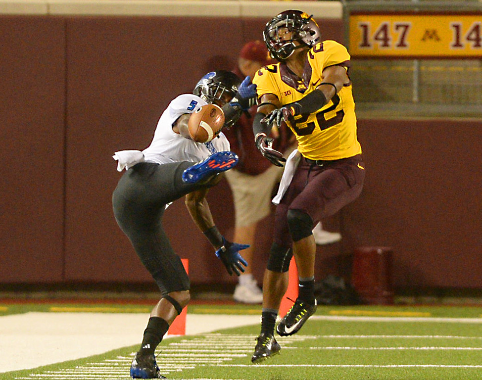 . Minnesota defensive back Craig James disrupts a pass meant for Eastern Illinois wide receiver Joe Powell in the fourth quarter. (Pioneer Press: John Autey)