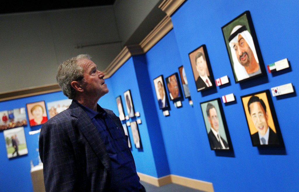 """. <p><b> Former President George W. Bush, in a revealing interview on �Today,� showed the world � </b> <p> A. His portraits of world leaders  <p> B. His new presidential library <p> C. He�s no better at painting than he was at governing <p><b><a href=\'http://www.msnbc.com/morning-joe/watch/painting-a-true-passion-for-george-w-bush-216276035515\' target=\""""_blank\"""">HUH?</a></b> <p>    (AP Photo/The Dallas Morning News, Mona Reeder)"""