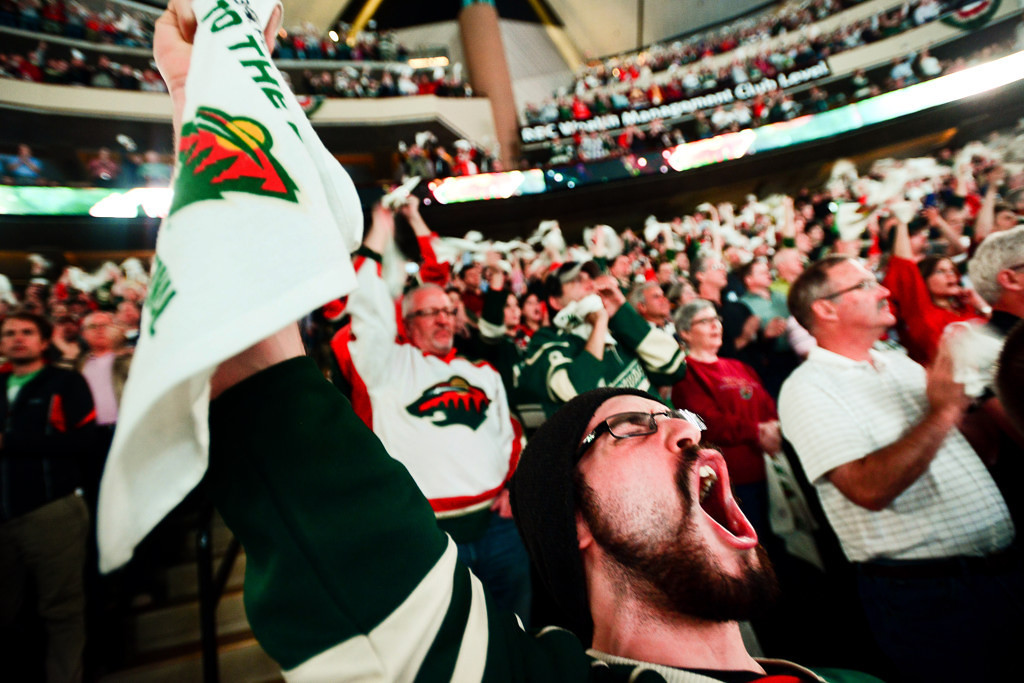 . Anthony Lindom of Bemidji cheers with thousands of other Wild fans before the puck is dropped in Game 4 of Minnesota\'s Western Conference quarterfinal series against Chicago.  (Pioneer Press: Ben Garvin)