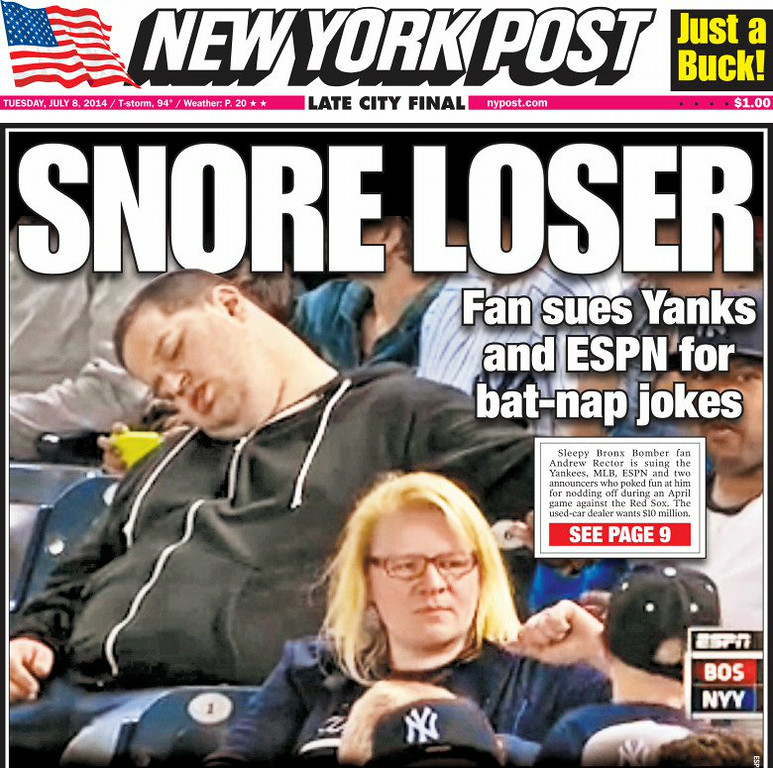""". 10. (tie) SLEEPING FANS <p>You think it�s easy sitting through the usual nine-hour Yankees-Red Sox game? (unranked) <p><b><a href=\'http://www.dailymail.co.uk/sport/othersports/article-2684357/Sleeping-baseball-fan-sues-ESPN-two-broadcasters-10million.html\' target=\""""_blank\""""> LINK </a></b> <p>   (New York Post)"""