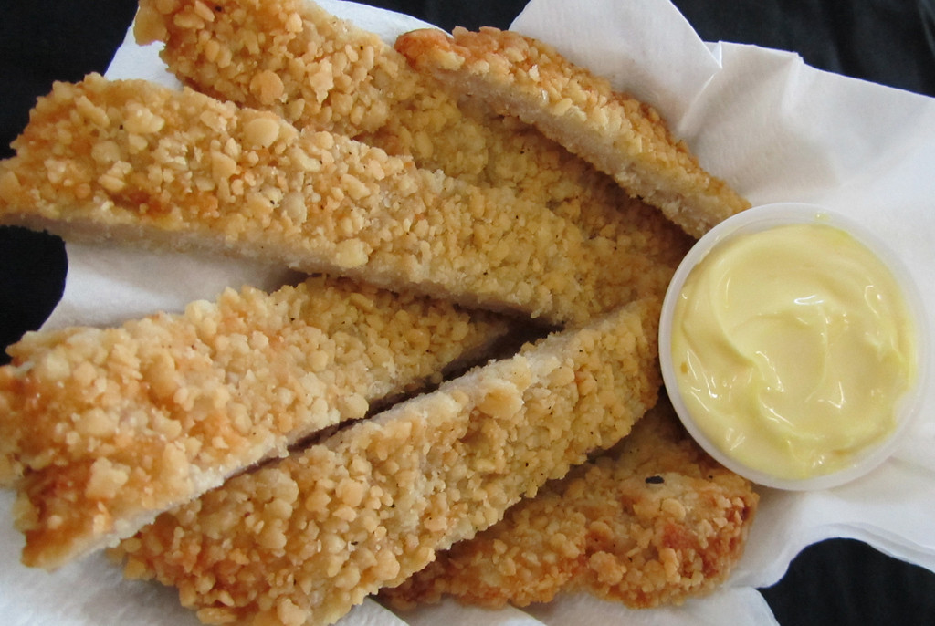 . Schnitzel Strips � Pork tenderloin coated with a seasoned breading, then fried, cut into strips and served with a lemon, garlic and mayonnaise dipping sauce. At Smoothies and Jurassic Dogs, on Murphy Avenue across from the Pet Center. (Courtesy of Minnesota State Fair)