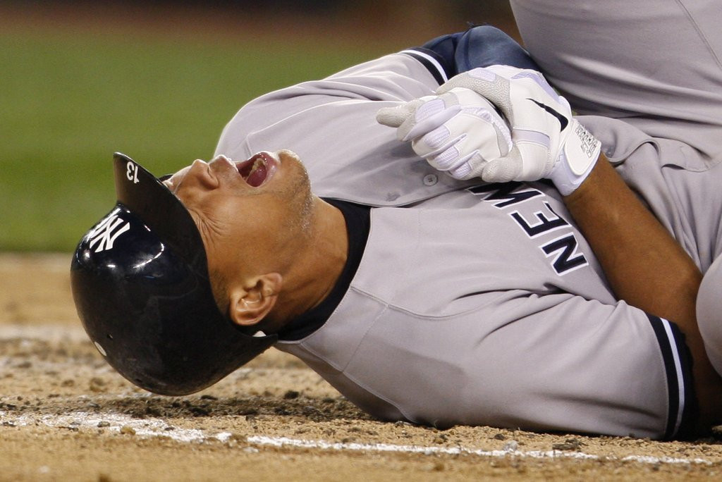 """. <p>5. ALEX RODRIGUEZ <p>Some fans upset when he was hit by pitch, mostly because Ryan Dempster missed his temple or crotch. (2) <p><b><a href=\'http://www.twincities.com/sports/ci_23892227/alex-rodriguez-yankees-lawyer-says-mlbs-case-will\' target=\""""_blank\""""> HUH?</a></b> <p>    (AP Photo/Kevin P. Casey)"""