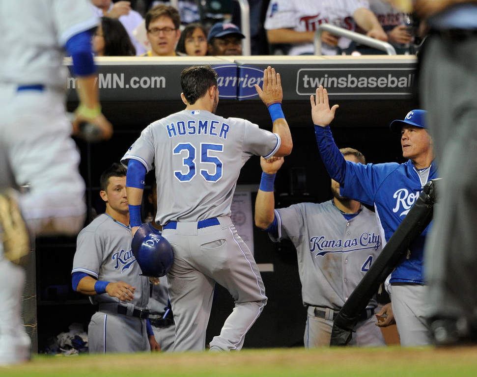 . Eric Hosmer #35 of the Kansas City Royals celebrates scoring a run against the Minnesota Twins during the third inning. (Photo by Hannah Foslien/Getty Images)
