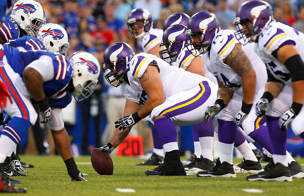 . The Buffalo Bills play the Minnesota Vikings during the first half of an NFL preseason football game Friday, Aug. 16, 2013, in Orchard Park, N.Y.  (AP Photo/Bill Wippert)