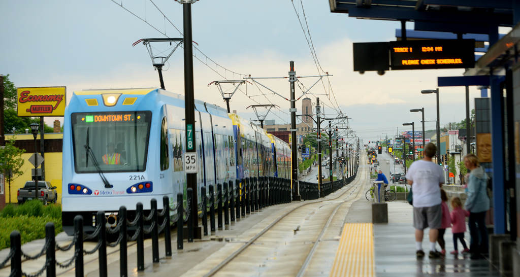 . A east bound train pulls into the Victoria Street Station during the Metro Transit Green Line Grand Opening in St. Paul. (Pioneer Press: John Autey)
