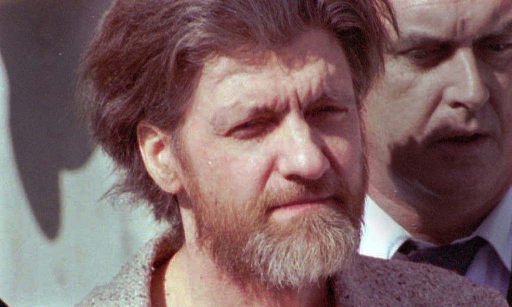 """. Former University of California at Berkeley math professor and convicted \""""Unabomber\"""" Ted Kaczynski is 73. He\'s shown being escorted into the federal courthouse in Helena, Mont., Thursday, April 4, 1996. His string of pipe and mail bombings killed three people; he\'s serving a life sentence in a Colorado federal prison. (AP Photo/John Youngbear)"""
