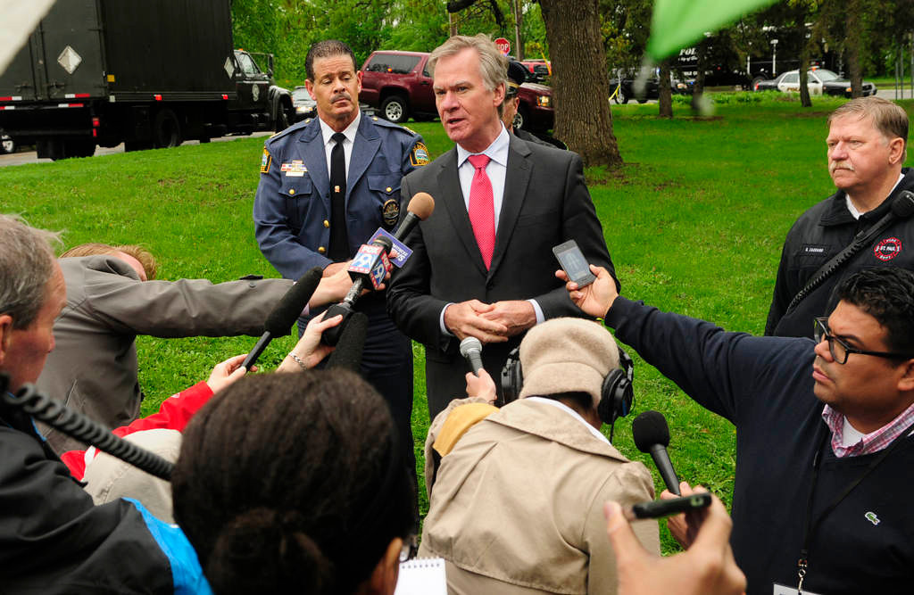. St. Paul Mayor Chris Coleman speaks at a news conference at Cherokee Park about the nearby landslide and rescue operation. (Pioneer Press: Scott Takushi)