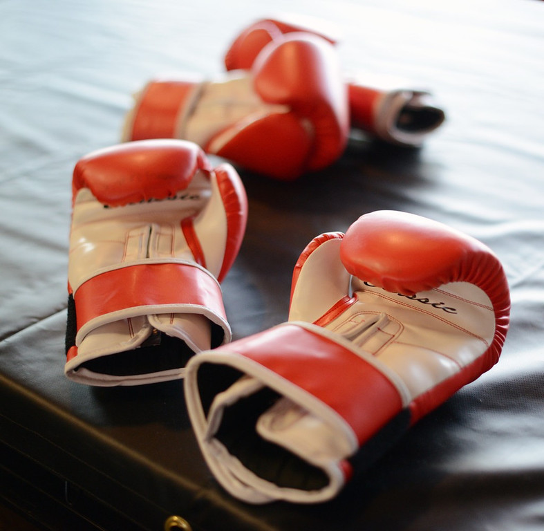 . Boxing gloves at Title Boxing Club. (Pioneer Press: Chris Polydoroff)