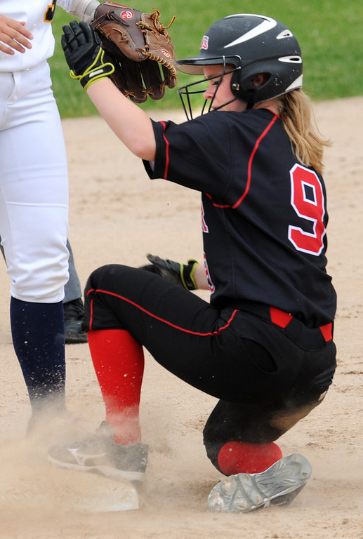 . Elk River\'s Marie Deaton is safe stealing second in the first inning. (Pioneer Press: Jean Pieri)