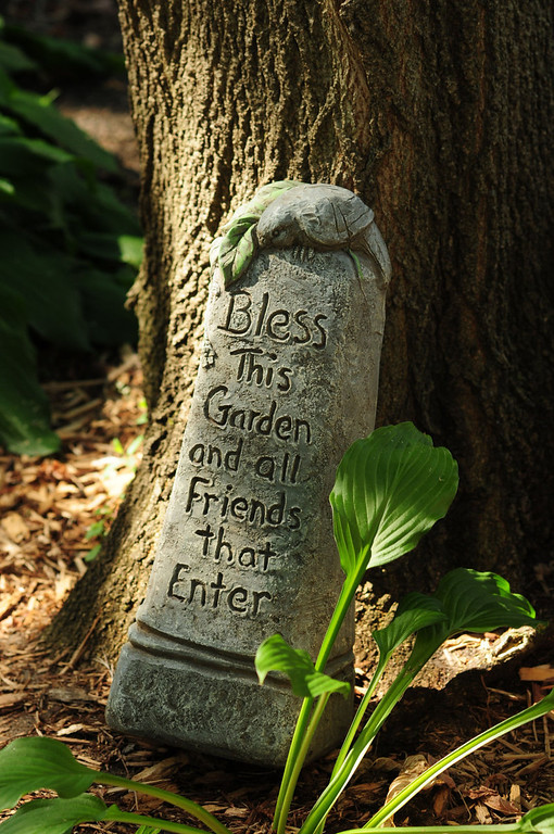. A carved stone in the garden of the home which was originally owned by Dr. Tregilgas.