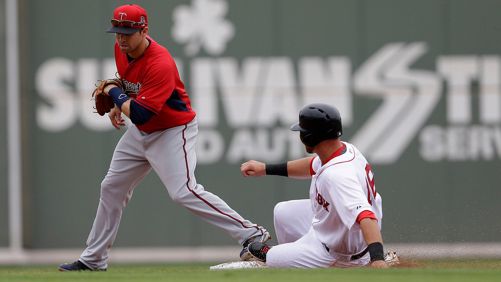 . Boston Red Sox third baseman Will Middlebrooks (16) is forced at second base as Minnesota Twins second baseman Brian Dozier covers on a groundnut to end the second inning of an exhibition baseball game in Fort Myers, Fla., Saturday, March 29, 2014. (AP Photo/Gerald Herbert)