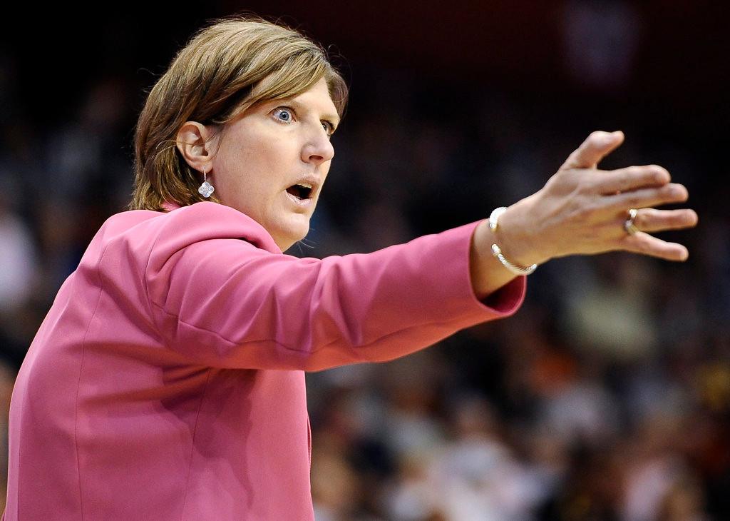 . Connecticut Sun coach Anne Donovan gestures during the first half. (AP Photo/Jessica Hill)