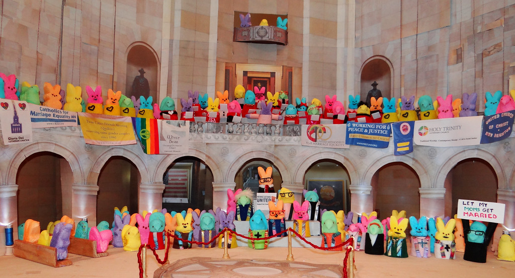 """. <b>HONORABLE MENTION:</b> \""""Peeps Rally - Freedom to Marry,\"""" by Peggy Walker, River Falls, and Jim Hesley, Woodbury."""